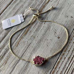 Kendra Scott Theo Fuschia Druzy Bracelet NEW
